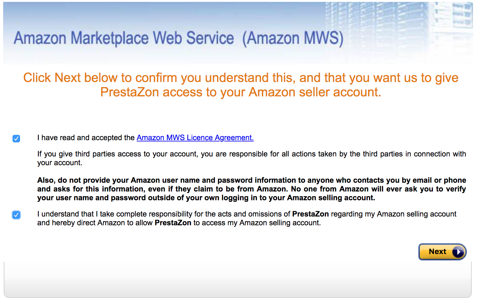 PrestaShop Amazon module — Adding your Amazon Account