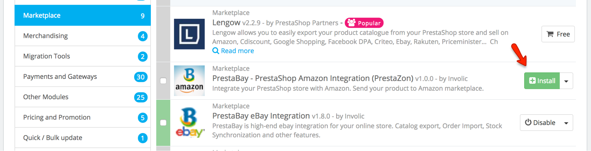 PrestaShop Amazon module — Installing PrestaBay Amazon Integration module