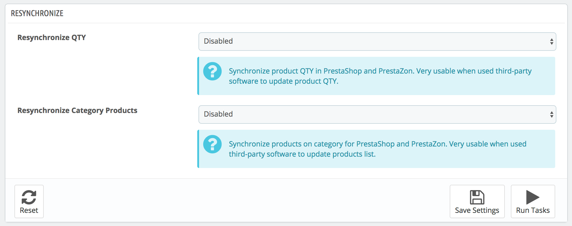 PrestaShop Amazon module — Resynchronize Options