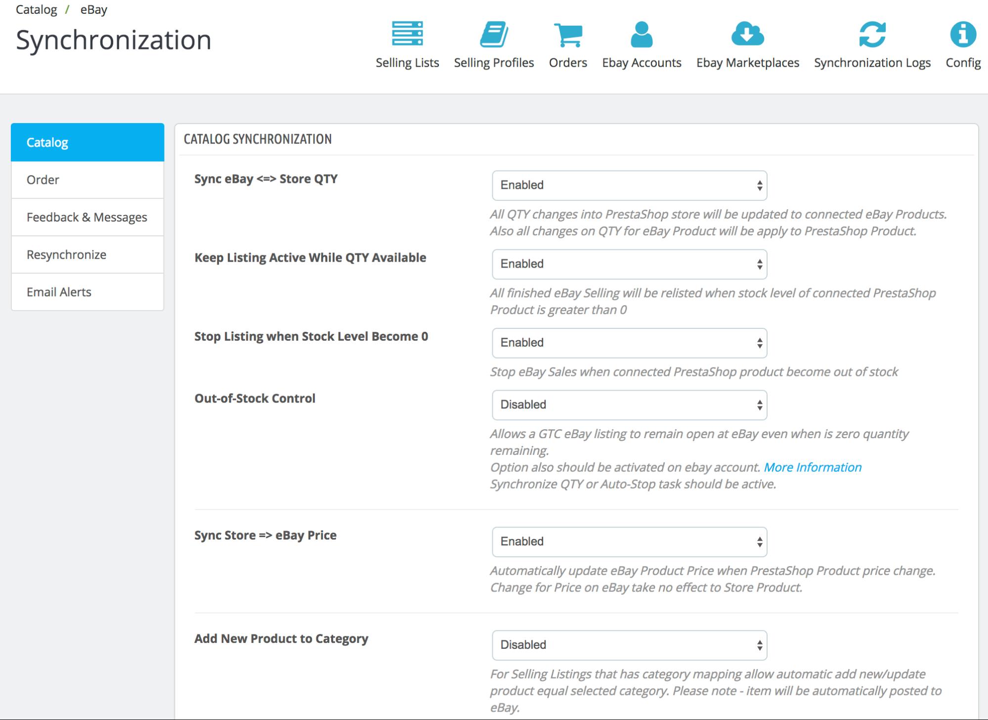 PrestaShop ebay module — Automatic Synchronization