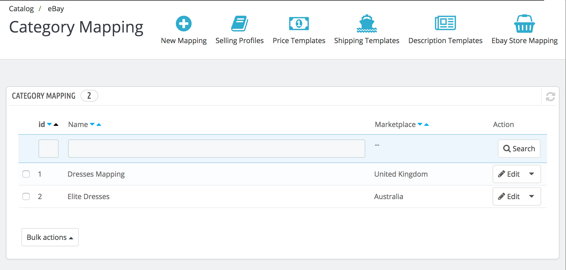 PrestaShop ebay module — Category Mapping