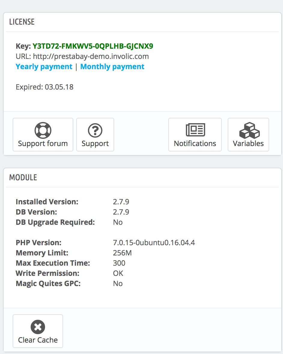 PrestaShop ebay module — Configuration Information