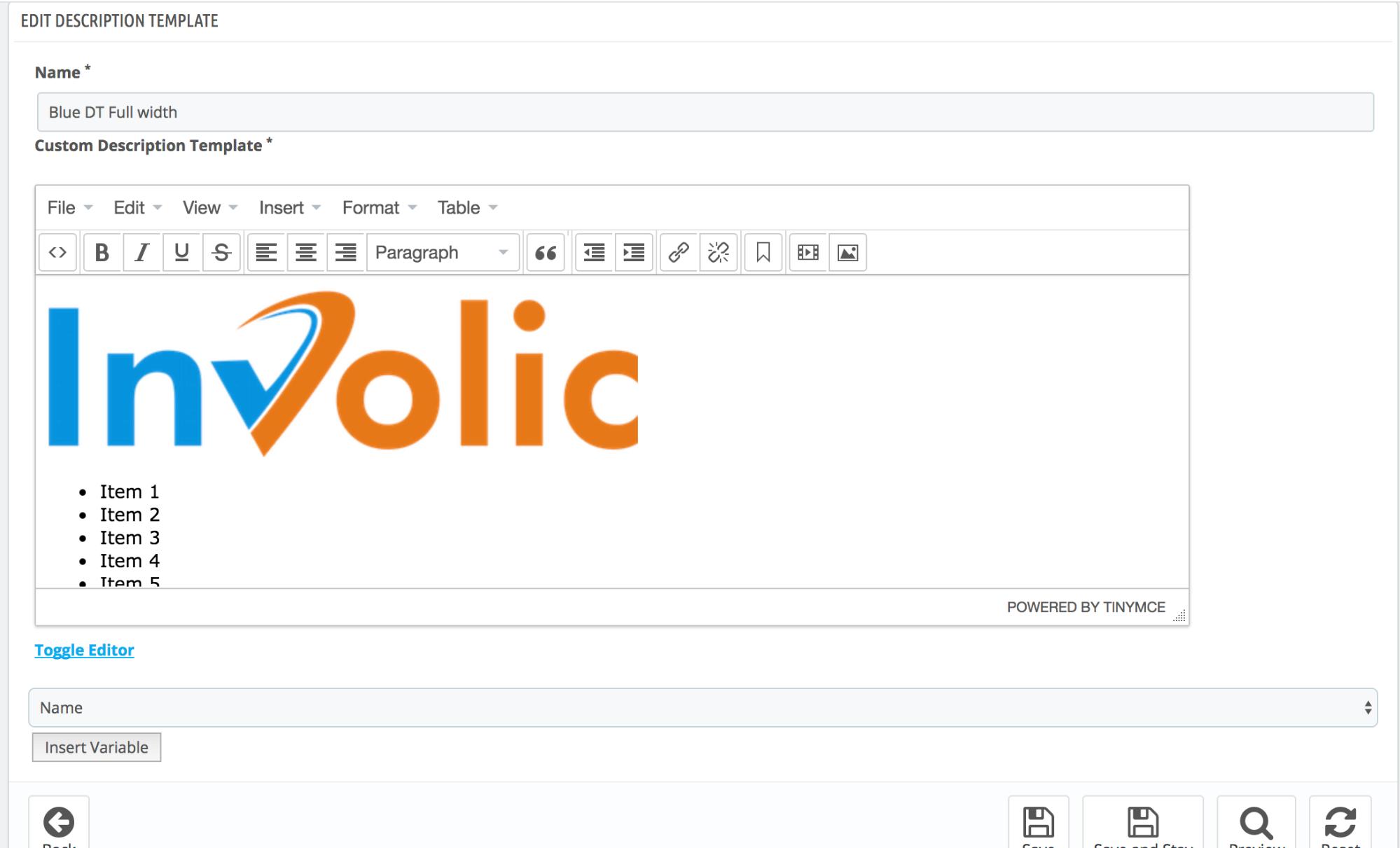 PrestaShop ebay module — Create New Description Template