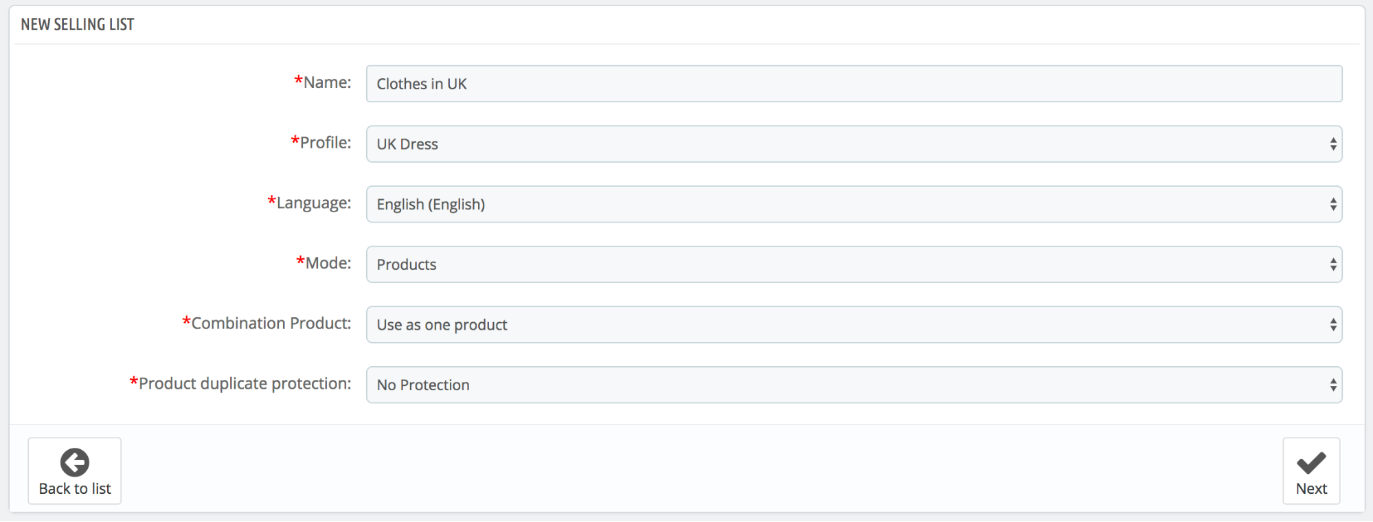 PrestaShop ebay module — Create New Selling List