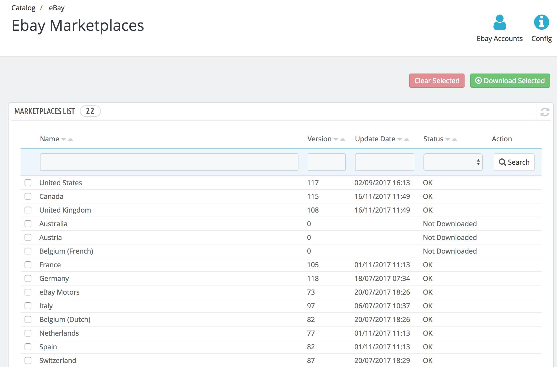 PrestaShop ebay module — Ebay Marketplace Information