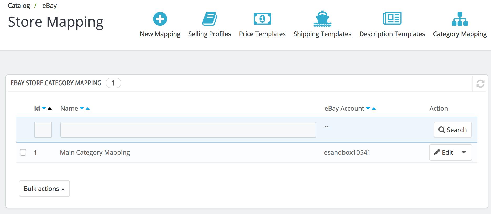 PrestaShop ebay module — eBay Store Mapping