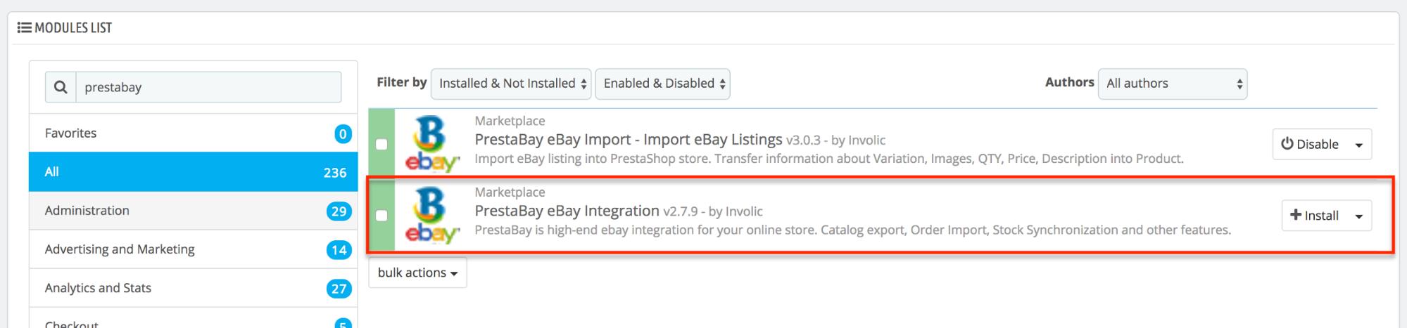 PrestaShop ebay module — Installing PrestaBay module