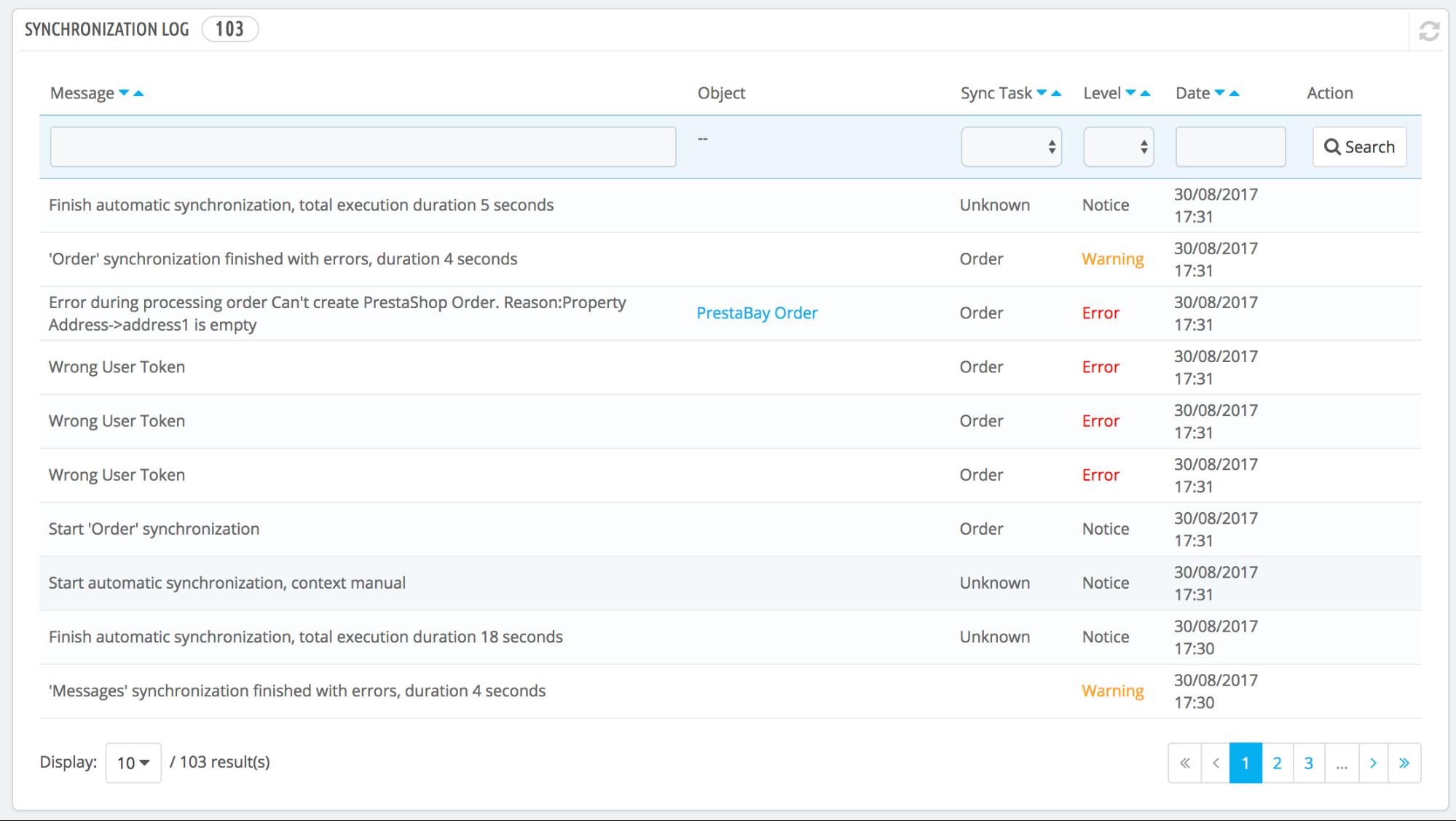 PrestaShop ebay module — Items Log