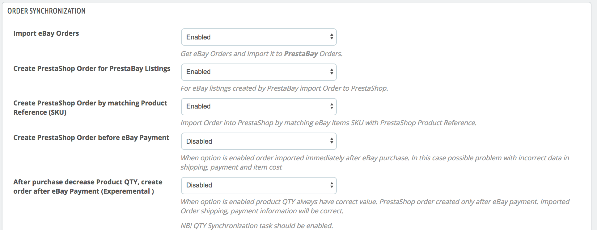 PrestaShop ebay module — Order Synchronizations Options