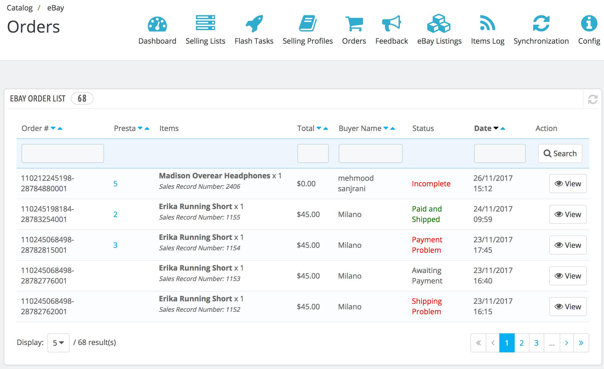 PrestaShop ebay module — Orders
