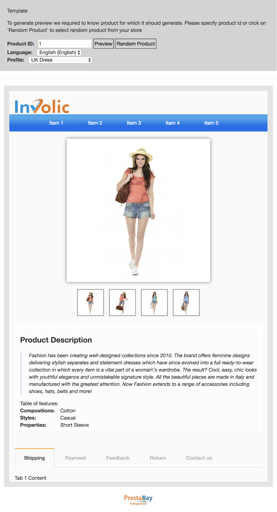 PrestaShop ebay module — Preview Description Template