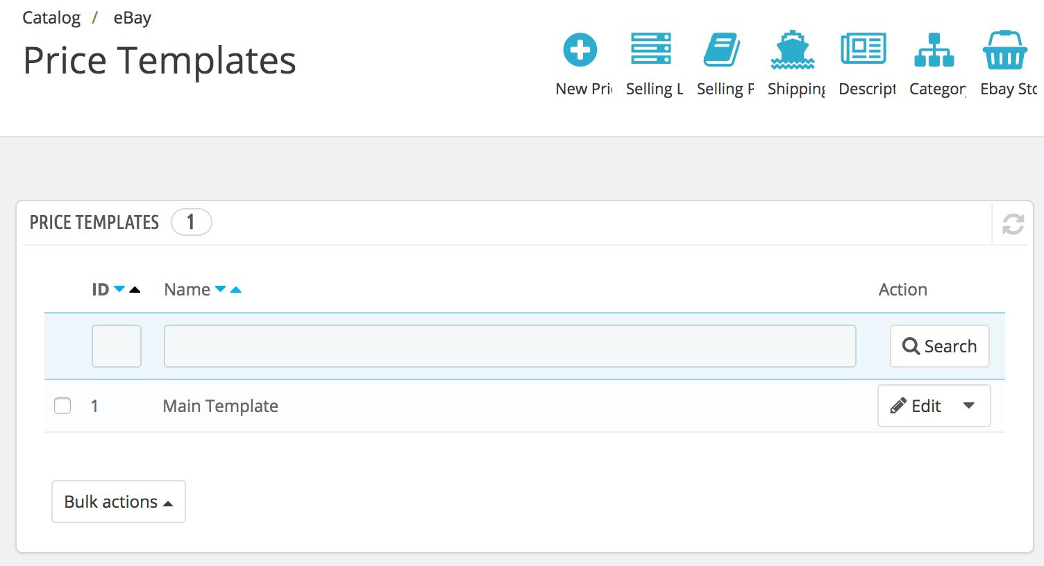 PrestaShop ebay module — Price Templates