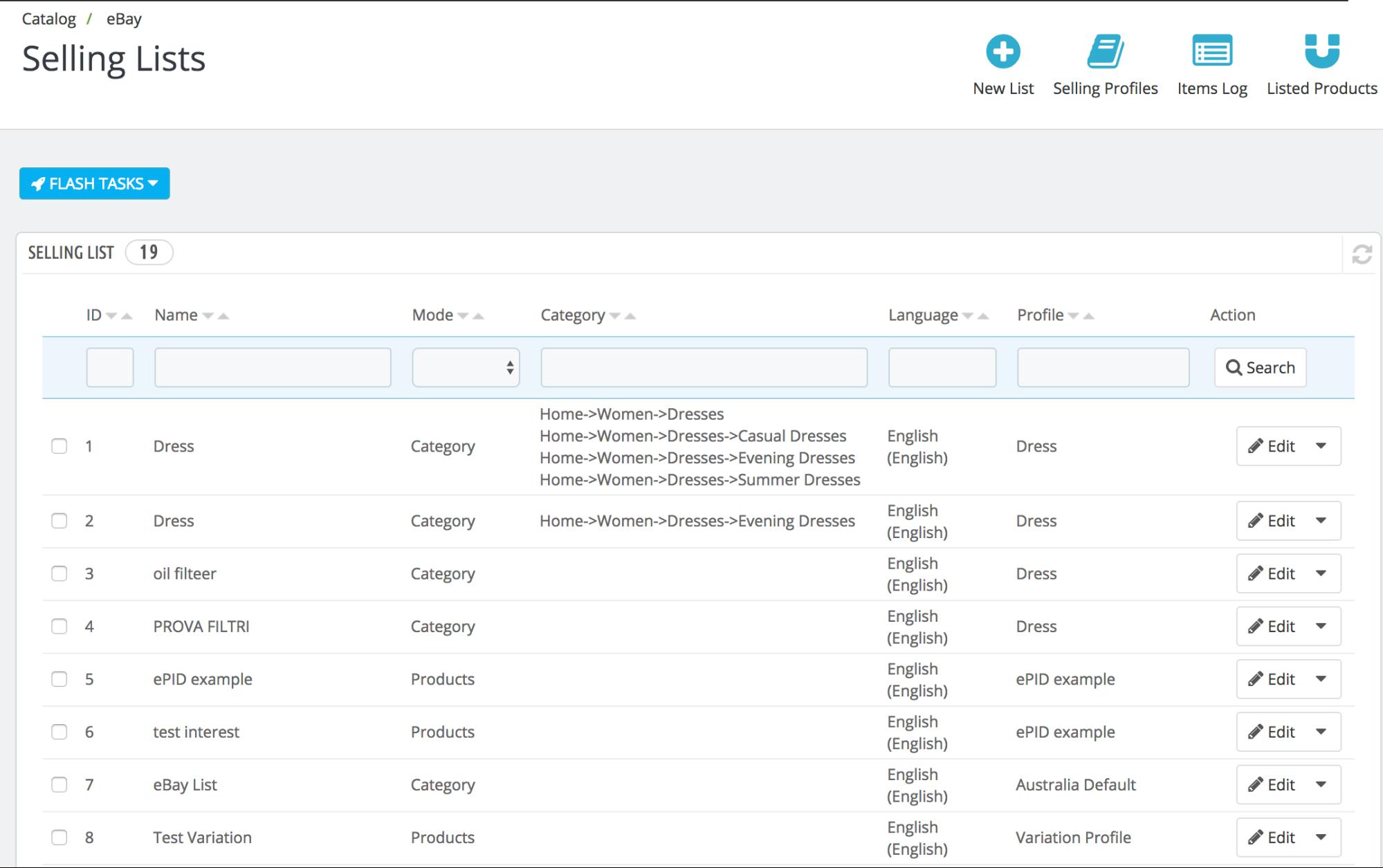 PrestaShop ebay module — Selling List