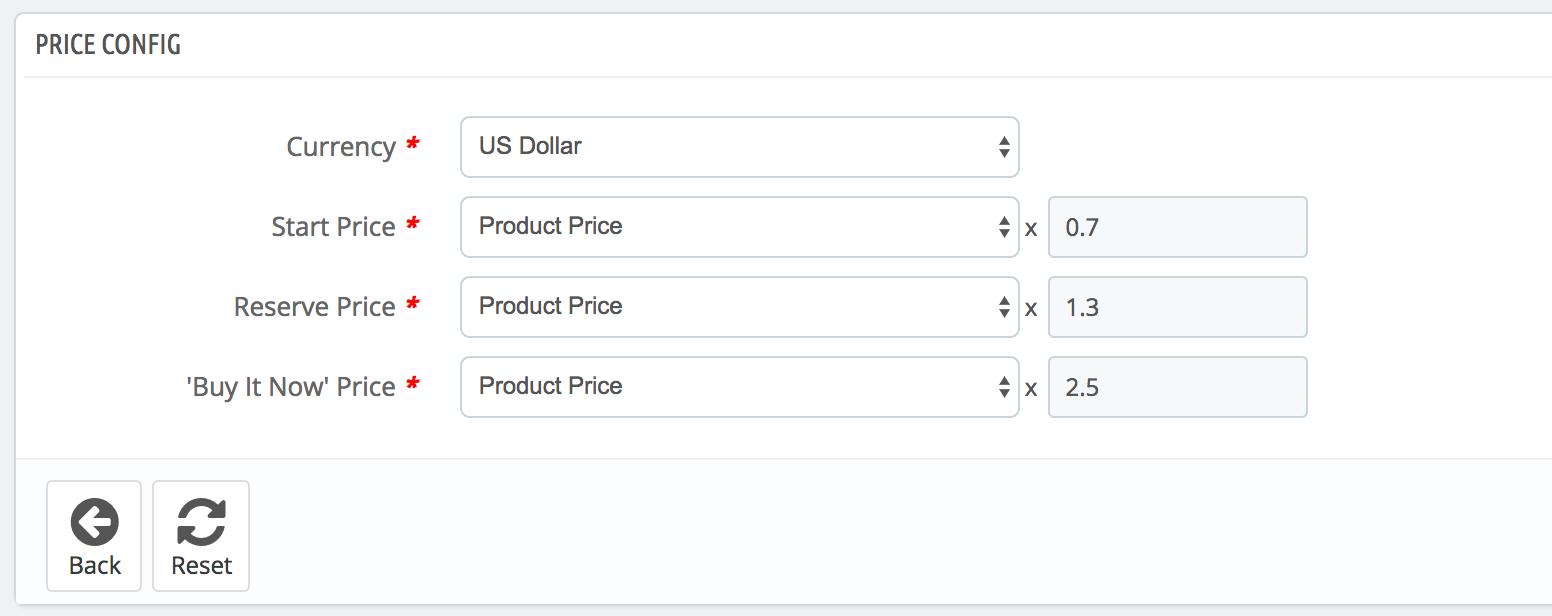 PrestaShop ebay module — Selling Profile — Price Tab
