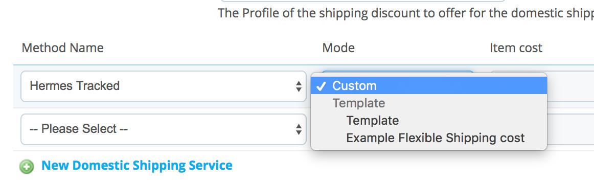 PrestaShop ebay module — Shipping Templates