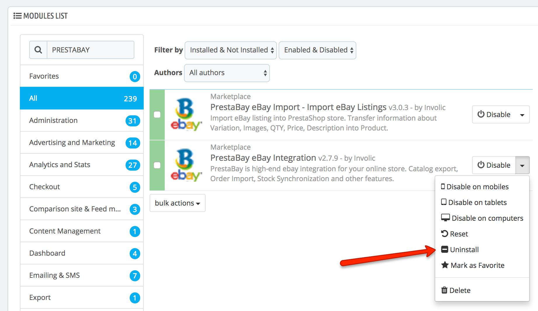 PrestaShop ebay module — Uninstalling module