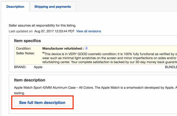 ebay no ssl description